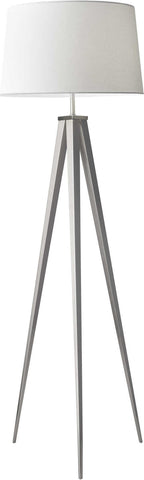 "Tripod Floor Lamp brushed steel 62""H"