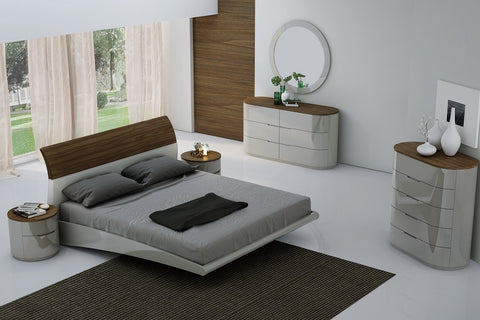 Amsel Bedroom Set (Queen or King) Walnut with Grey Lacquer