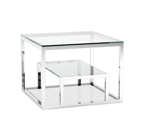 Barolo End Table - glass with polished stainless steel frame