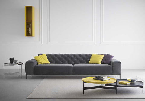 Boston Grey Velvet sofa from Pianca, Italy