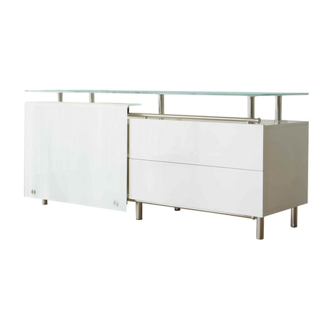 Sideboard White High Gloss Lacquer & Glass 71'' x 23''