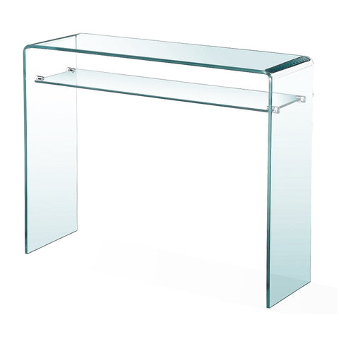 Glass Console Table W/ Shelf