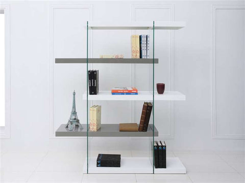 IL VETRO High Gloss White/Gray Lacquer Bookcase - floor sample