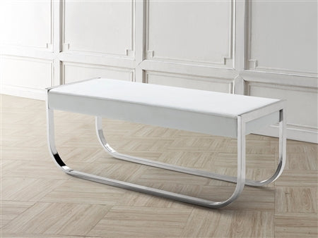 White Eco-Leather Bench