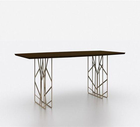 Walnut and Stainless Steel Dining Table