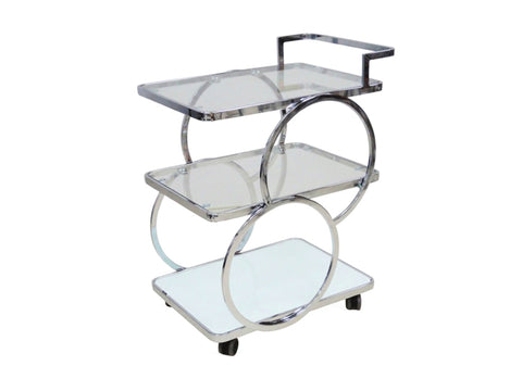 Chrome / White Glass Bar Cart
