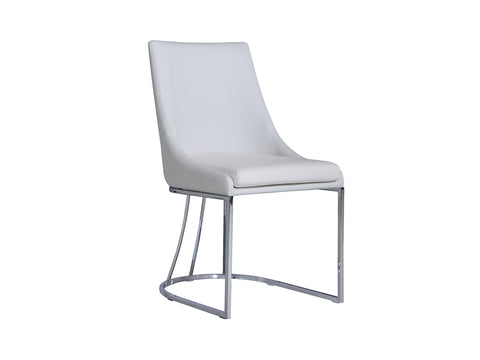 White eco-leather dining chair