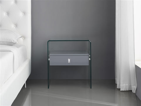Bari Grey Lacquer Nightstand