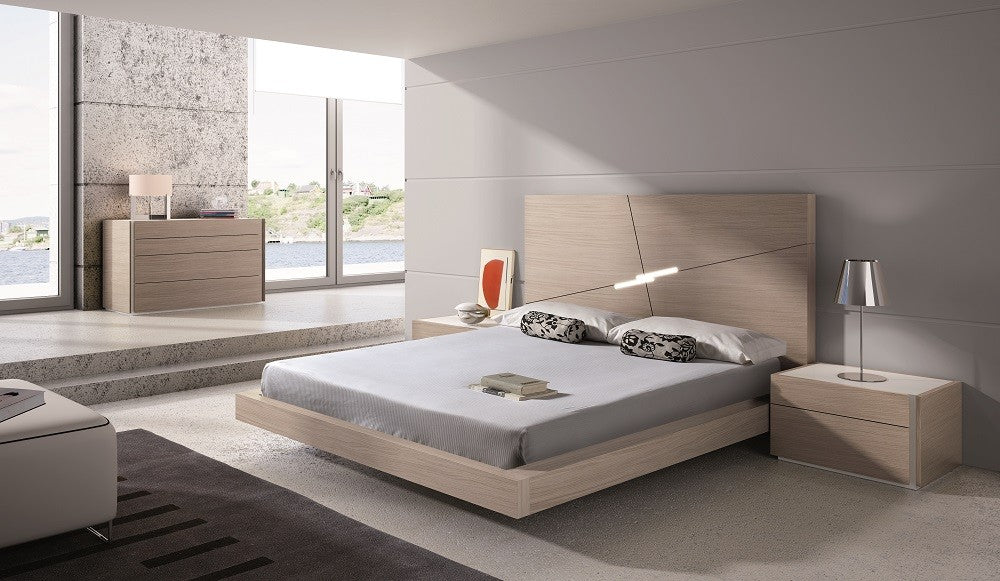 Evora Bedroom Set Queen Or King In Natural Oak With White Gloss Luxspaceliving