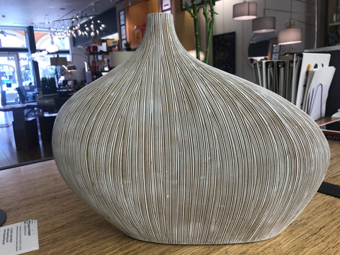 "Vase modern. 12,5"" high and 15"" wide / cream color"