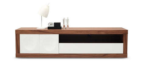 TV/Media Entertainment Center, walnut w/white gloss, 79x19x21H