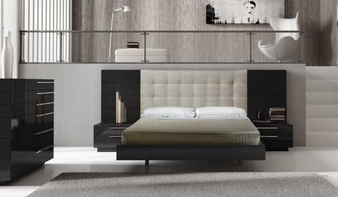 Sina Bedroom Set (Queen or King) beige easy clean fabric with dark high gloss wood