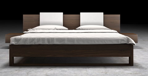 Monroe Bed in walnut with white Ecoleather headboard cushion