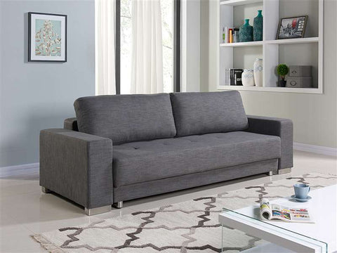 "Gray Fabric Sleeper Sofa Bed - extends to 55""W"