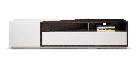 TV/Media Entertainment Center, light grey gloss w/brown oak, 75x16x18H