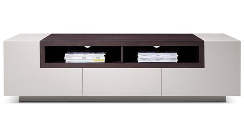 Margo Modern TV Media Stand - Light Grey with Brown Oak