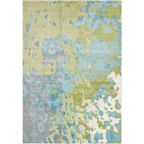 Area Rug 5.2 x 7.6 in beautiful lively aqua and teal color