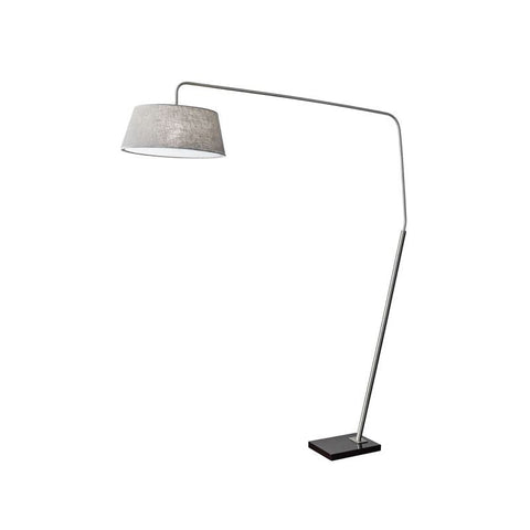 "Floor Lamp with Grey Linen Shade - 1 Light 71.5"" Tall Gooseneck"