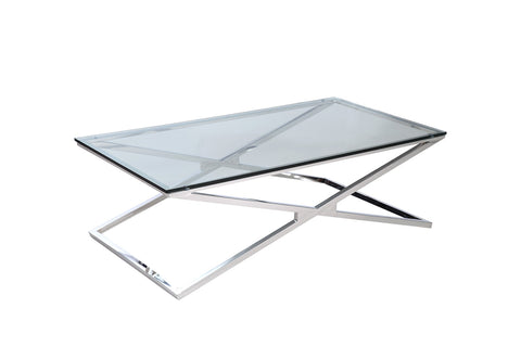 Affini Coffee Table Glass with X-frame stainless steel table base