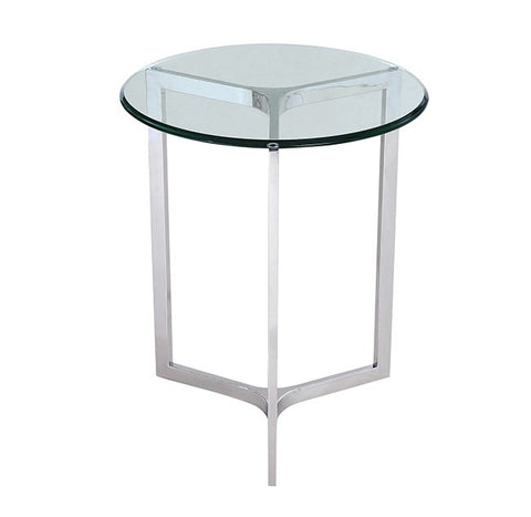 "Allure Side Table round D20 H24"" with stainless steel base"