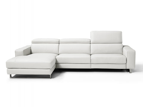 White Sectional - right facing with adjustable head rests - High quality Italian MADE