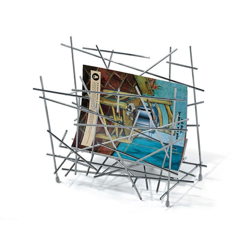 ALESSI Blow-Up Magazine Holder in polished stainless steel