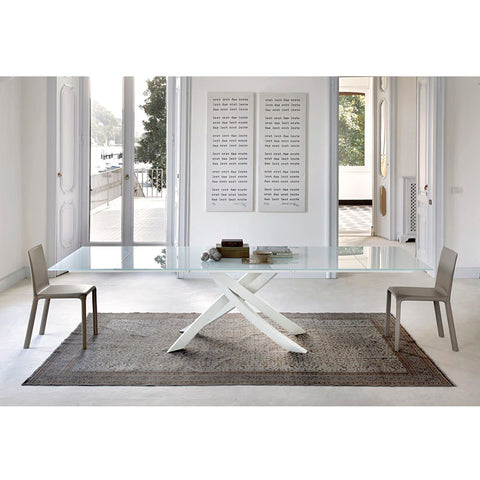 "Artistico Dining Table - 75"" x 41"" - extendable to 144"" - White satin glass top and white legs"