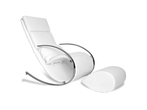 Chloe Rocker Chair with Ottoman in white Ecoleather
