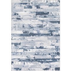 Area Rug 5.3 x 7.6. blue and grey