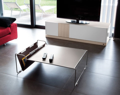 Bijou Coffee Table with leather magazine holder
