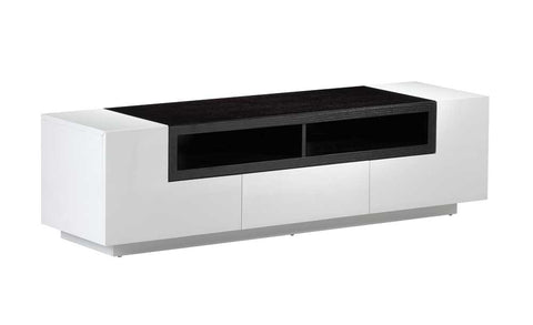 TV Entertainment/Media Center, white gloss w/dark oak, 65x18x18H