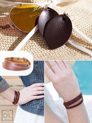 Leather Diffuser Jewelry Starter Kit (Earrings and Wrap Bracelet)