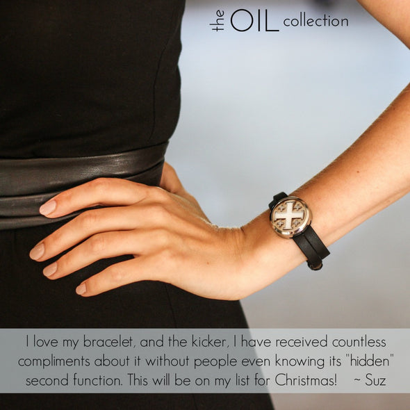 Cross - Diffuser Wrap Bracelet (Stainless Steel) - The Oil Collection - 3