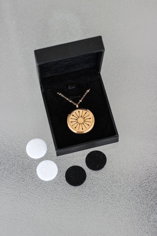 Rose Gold Stainless Steel Diffuser Necklace - Arrow Locket - The Oil Collection - 3