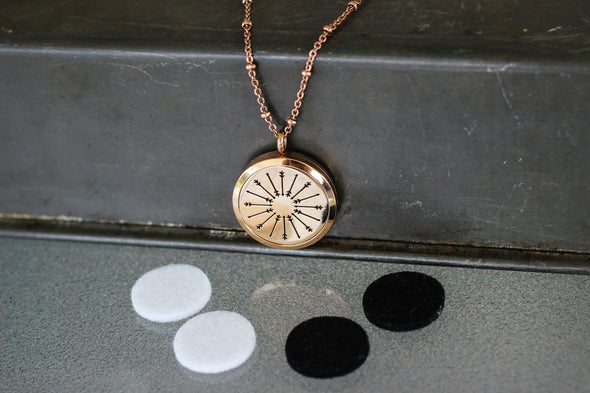 Rose Gold Stainless Steel Diffuser Necklace - Arrow Locket - The Oil Collection - 4