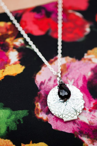 Silver Diffuser Necklace with Black Teardrop Charm