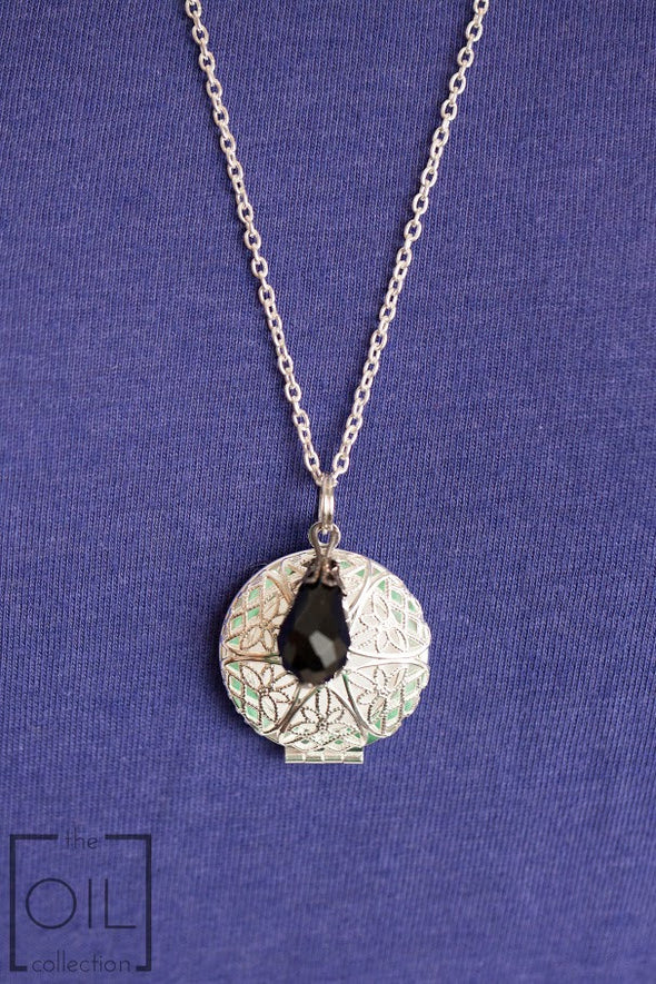 Silver Diffuser Necklace with Black Teardrop Charm -  - 2