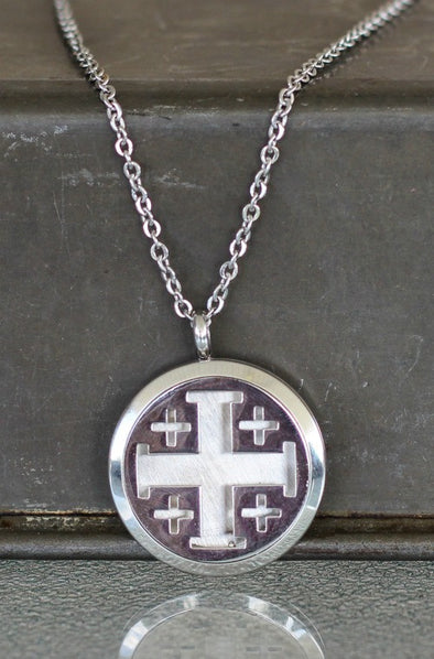 Stainless Steel Diffuser Necklace - Cross Locket - The Oil Collection - 1