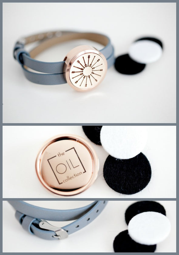 Rose Gold -  Diffuser Wrap Bracelet with Arrow Locket - The Oil Collection - 2