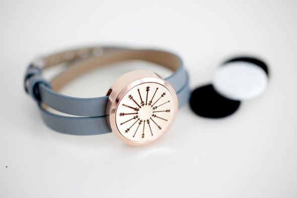 Rose Gold -  Diffuser Wrap Bracelet with Arrow Locket - The Oil Collection - 4