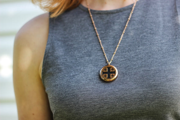Rose Gold Stainless Steel Diffuser Necklace - Cross Locket - The Oil Collection - 3
