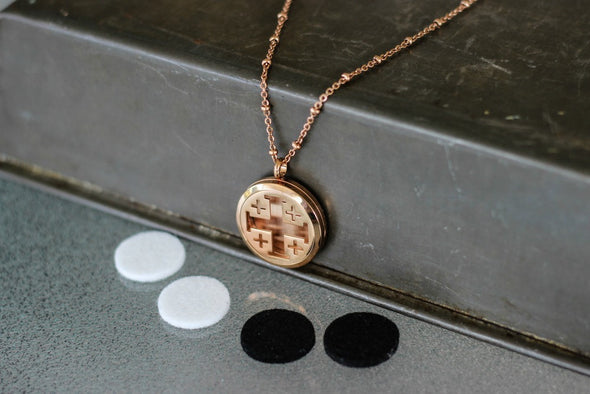 Rose Gold Stainless Steel Diffuser Necklace - Cross Locket - The Oil Collection - 2