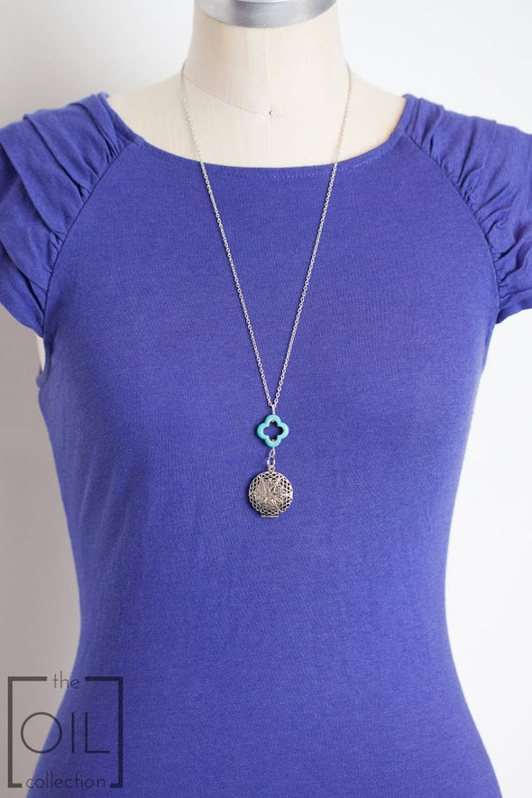 Antique Silver Diffuser Necklace with Turquoise Drop (Limited Edition) -  - 3