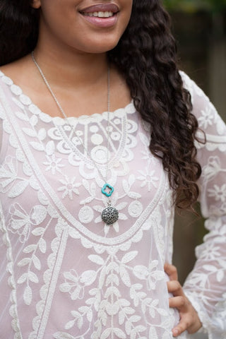 Antique Silver Diffuser Necklace with Turquoise Drop (Limited Edition)