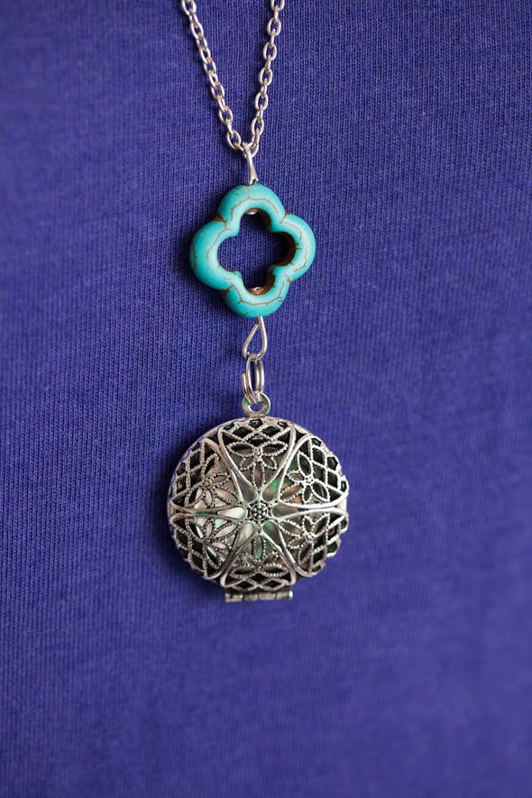 Antique Silver Diffuser Necklace with Turquoise Drop (Limited Edition) -  - 4