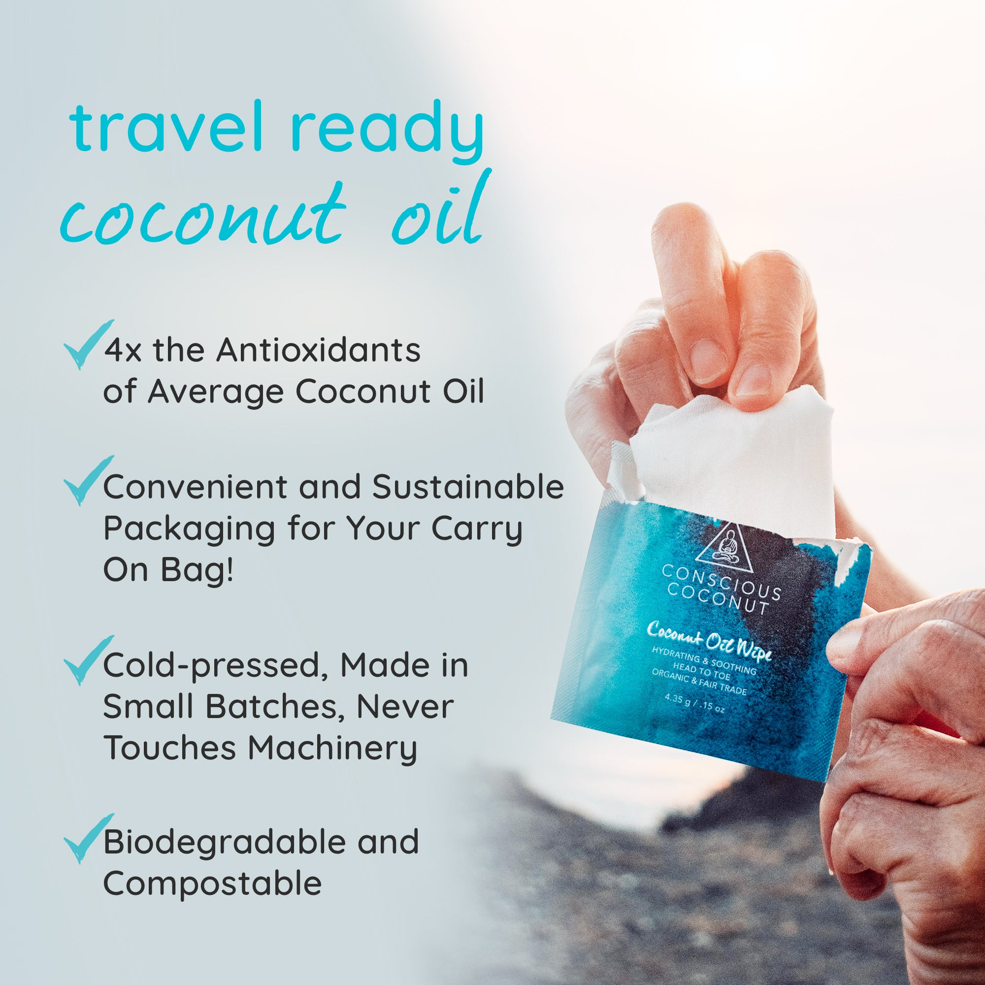 NEW Organic Coconut Oil Wipes (5 Travel Pack)