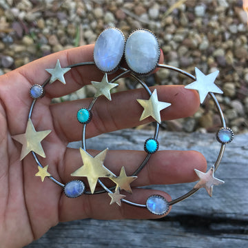 Rainbow Moonstone Star Hoops