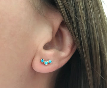 Mini Triple Turquoise Earrings.