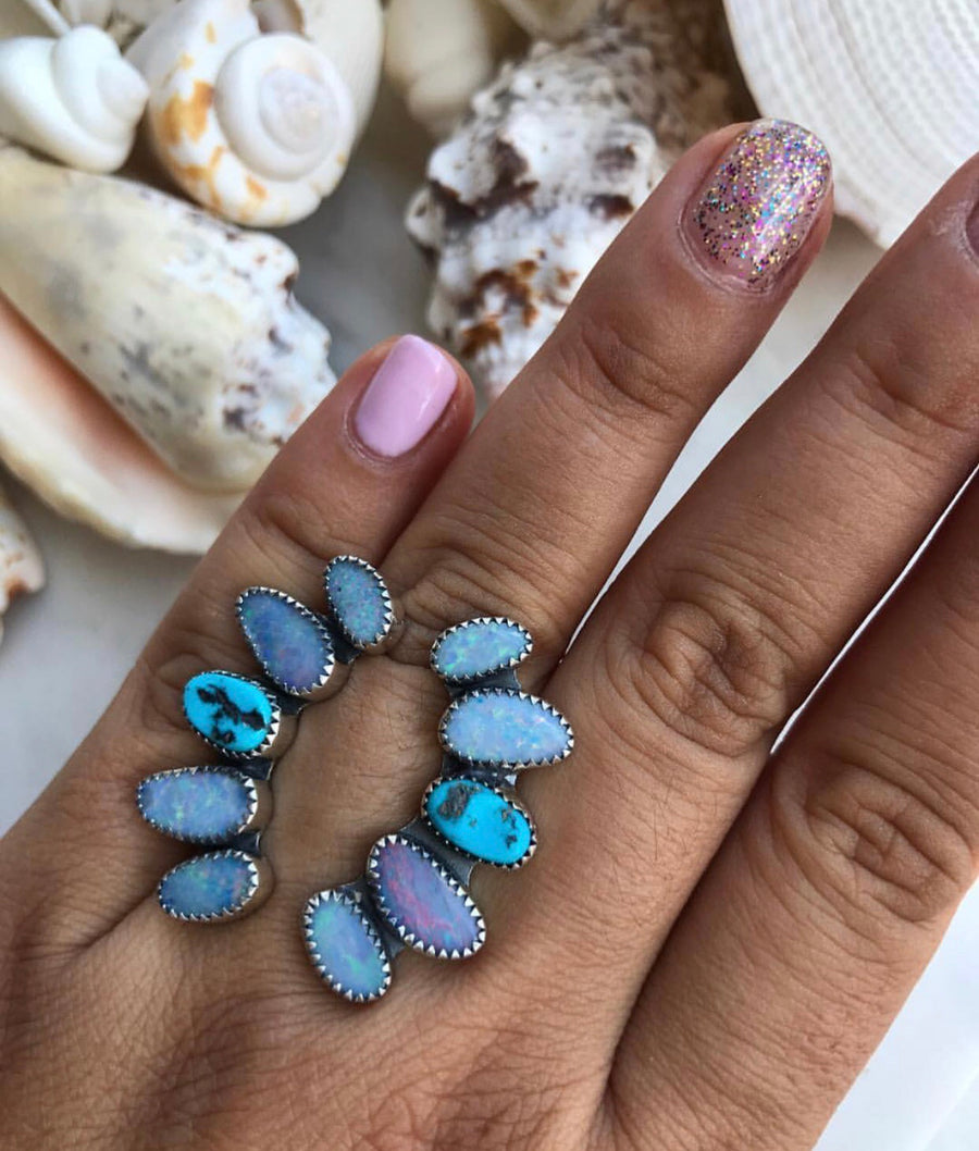 Open Arms Turquoise and Opal Ring.