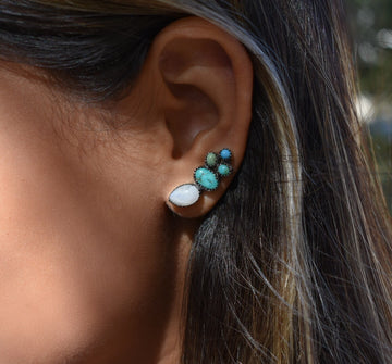 Sweetheart Moonstone and Turquoise Ear Climber